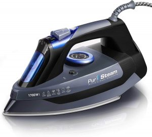 PurSteam Professional Grade 1700W Steam Iron for Clothes with Rapid Even Heat Scratch Resistant Stainless Steel Sole Plate,